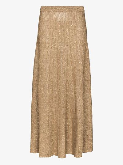 pleated lurex knit midi skirt