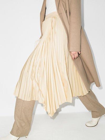 Sabin asymmetric pleated skirt