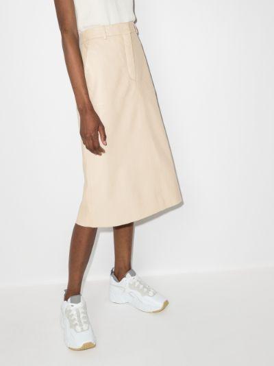Salva nappa leather midi skirt