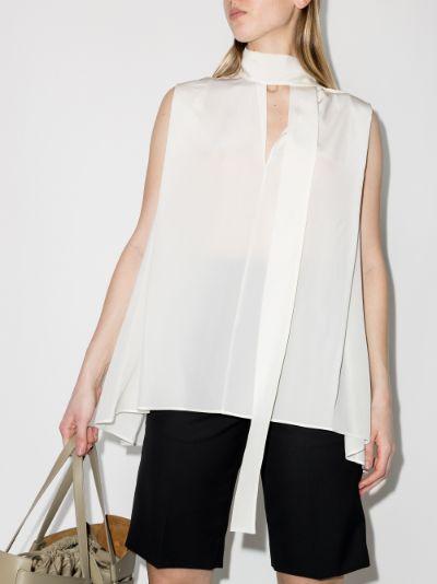 white Batin tie neck silk blouse