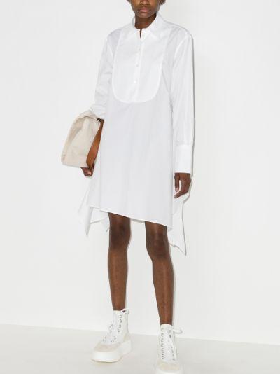 asymmetric bib shirt dress