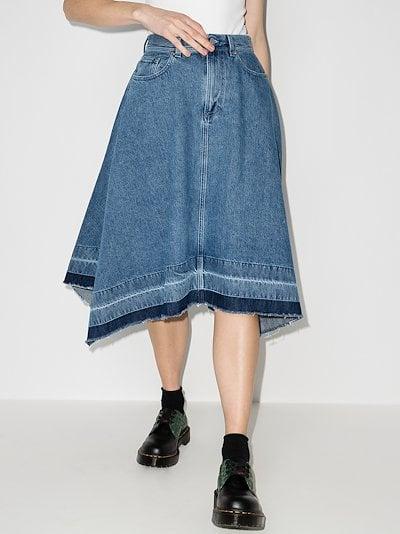 asymmetric raw hem denim skirt