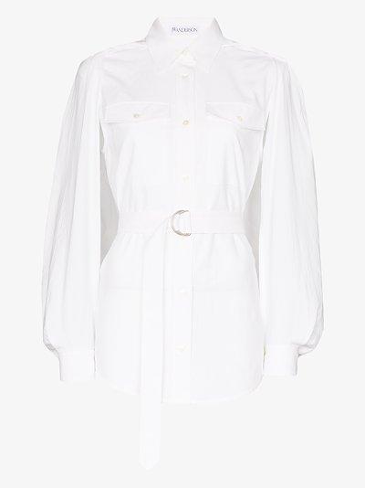 belted slit sleeve shirt
