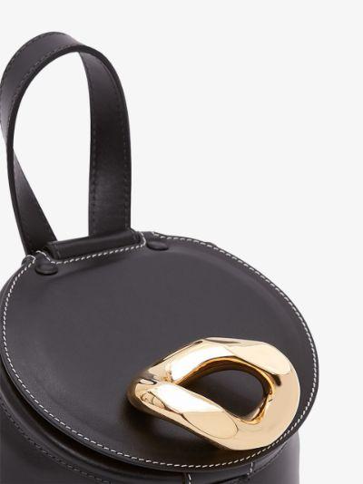 black Lid leather bucket bag