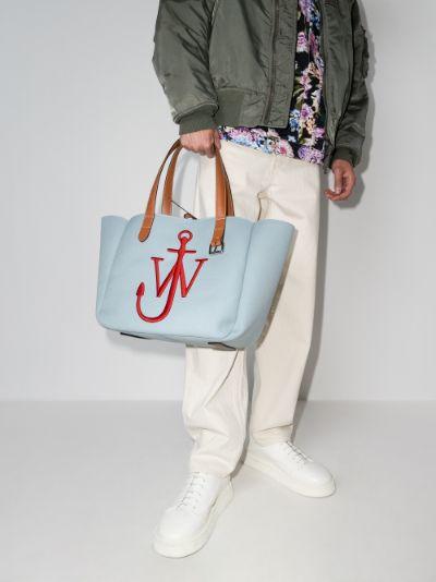 blue belt canvas tote bag