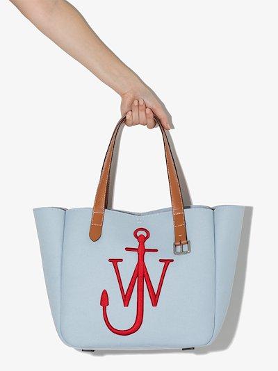 Blue canvas belt tote bag