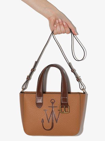 brown Belt logo leather tote bag