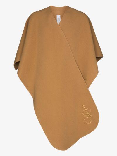 brown wool cape scarf