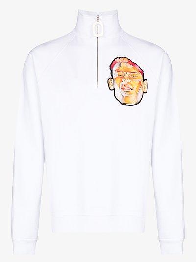 face appliqué cotton sweatshirt