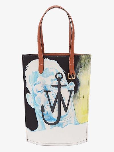 multicoloured printed tote bag