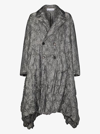 oversized asymmetric jacquard puffer coat