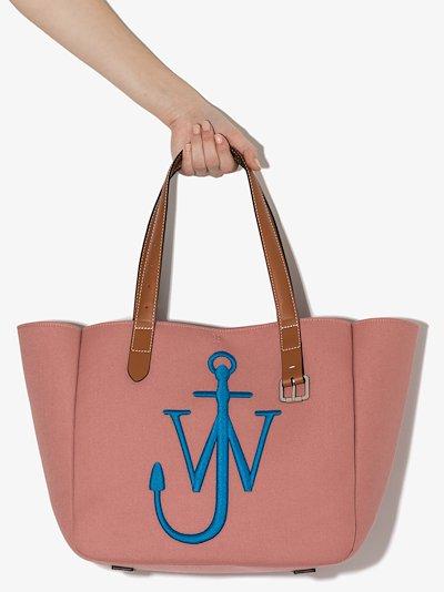 Pink canvas belt tote bag