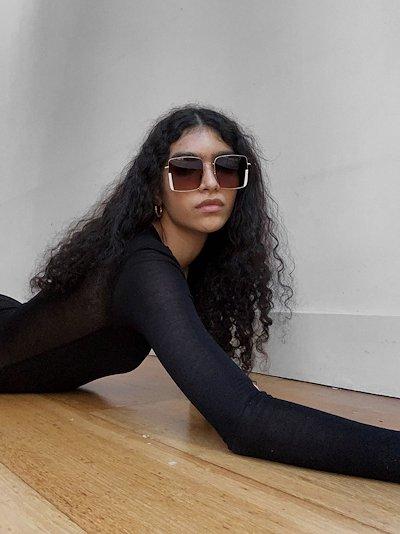 gold tone Bennet square sunglasses