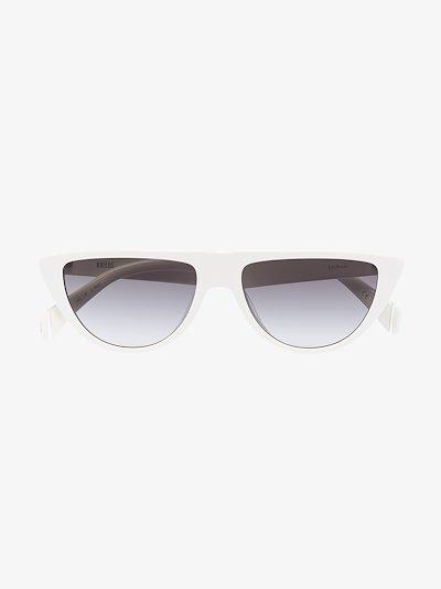 white Lichon cat eye sunglasses