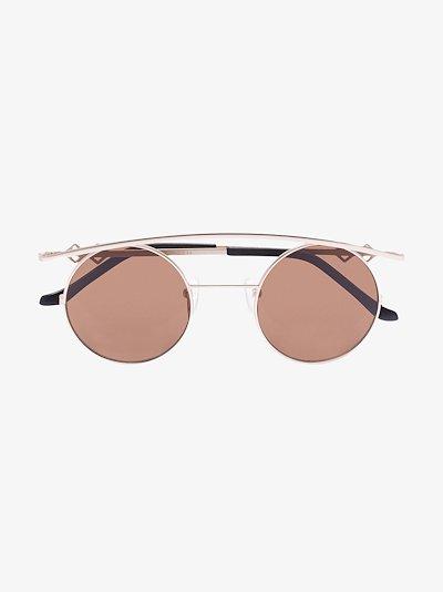gold tone Retro XL round sunglasses