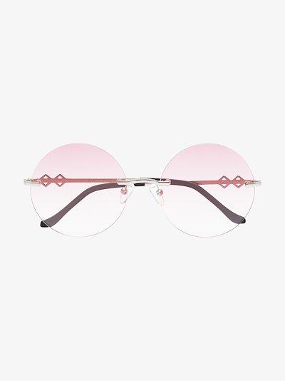 silver tone Luna round sunglasses