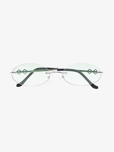 silver tone Vicky oval sunglasses
