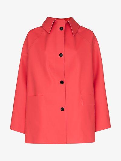 button-down rubber coat