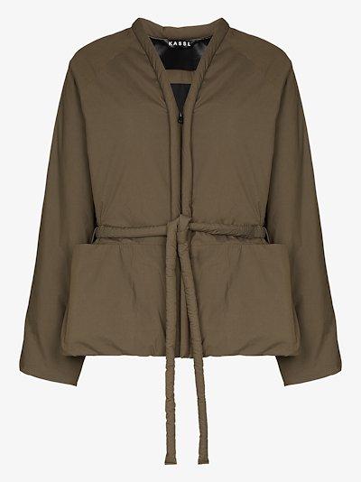 oversized belted padded cotton jacket