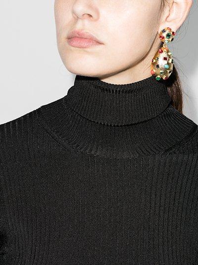 gold tone crystal clip earrings