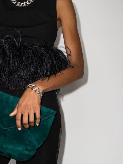 silver tone crystal chain link bracelet