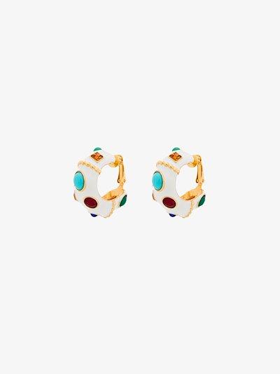 white gem hoop earrings