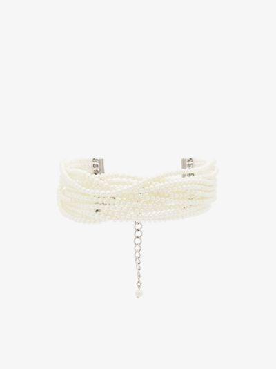 white multi strand pearl choker necklace