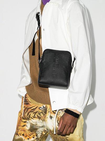 black leather cross body logo bag