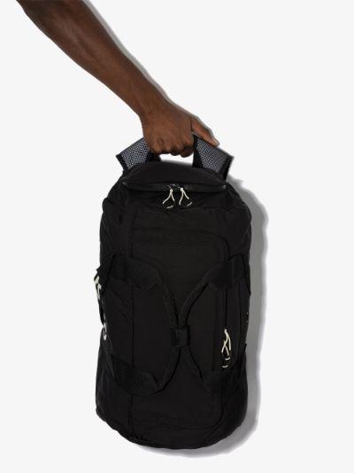black logo print travel backpack