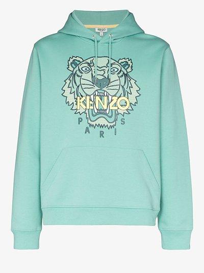 tiger logo print hoodie