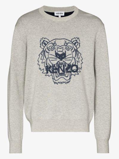 tiger logo print sweater