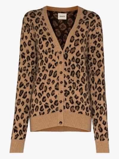 Amelia leopard print cashmere cardigan