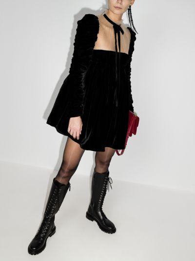 Ann sheer neck velvet mini dress