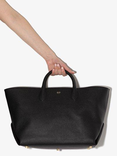 black Amelia grained leather tote bag
