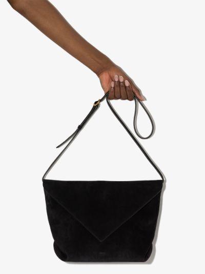 black Maude suede cross body bag