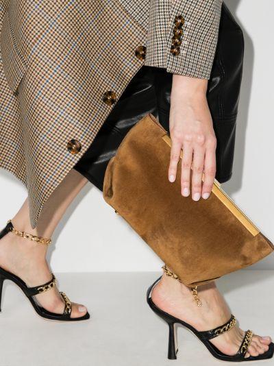 Brown Aimee suede envelope clutch bag