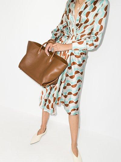 brown Amelia medium leather tote bag