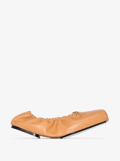 Brown Ashland ruched flat ballet pumps