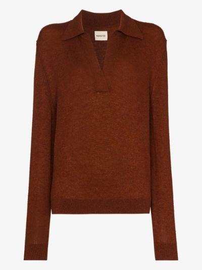 Jo cashmere knit polo sweater