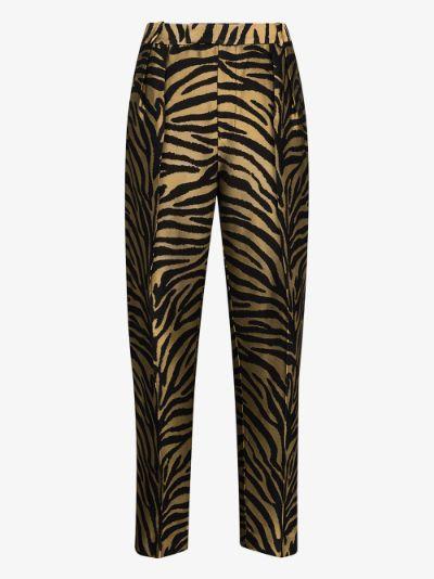 Magdeline zebra print tapered trousers