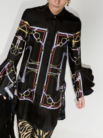 ruffle sleeves chain-link shirt