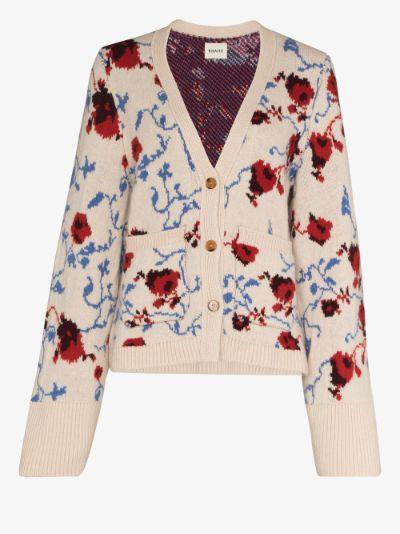 Scarlet Floral Cashmere Cardigan