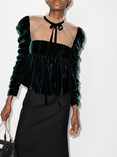 X Browns 50 Fanny sheer neck velvet blouse