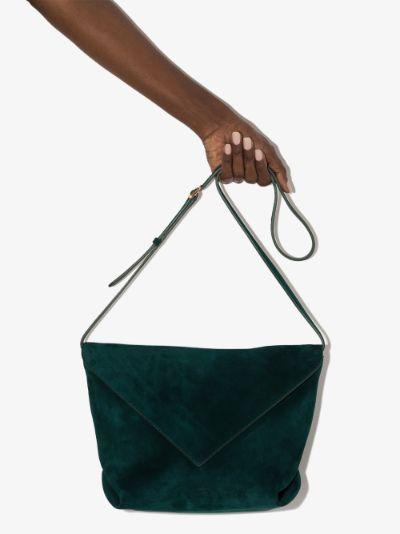 X Browns 50 green envelope suede cross body bag