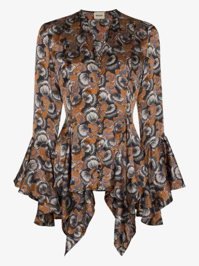 X Browns elliot bell sleeve cuff shirt