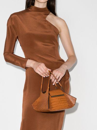 Brown Kutchra mock croc leather Tote Bag