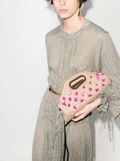 Neutral Jute floral clutch bag