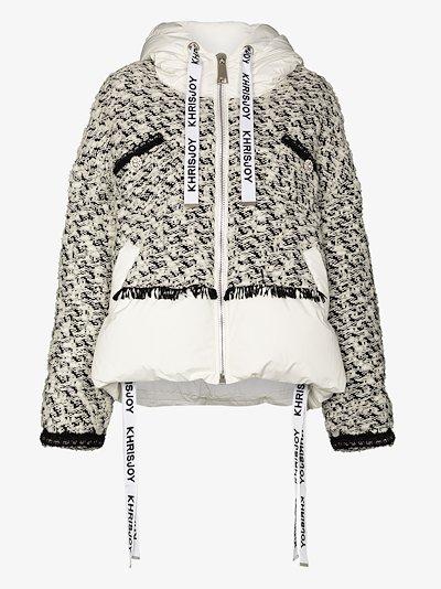 Khris tweed panel puffer jacket