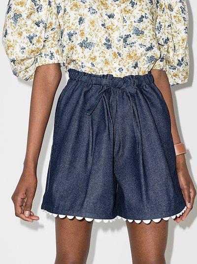 Elsie scalloped denim shorts