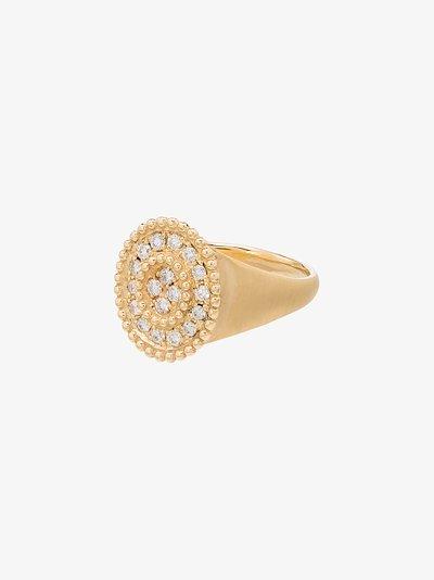 18K yellow gold Prime diamond signet ring